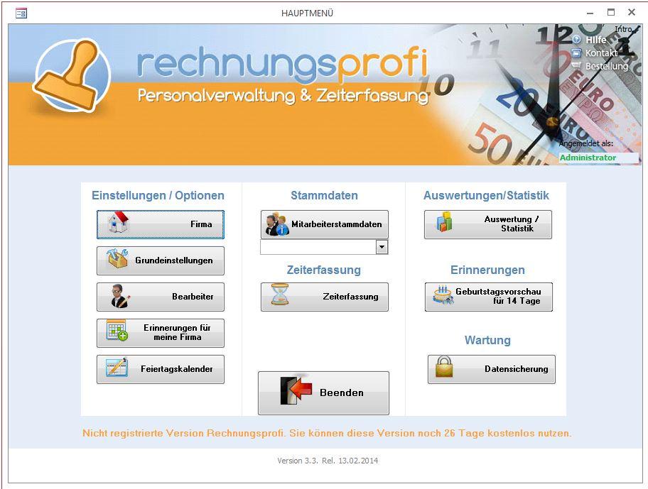 Software für leichte Personalverwaltung und Zeiterfassung
